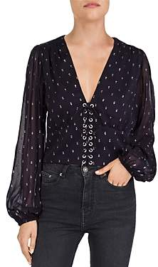 The Kooples Lace-Up Metallic-Dot Top