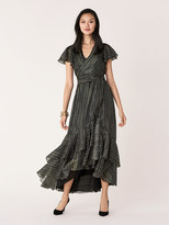 Diane von Furstenberg Donnie Silk-Metallic Faux-Wrap Gown