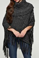 Love Stitch Lovestitch Fringed Cable Poncho