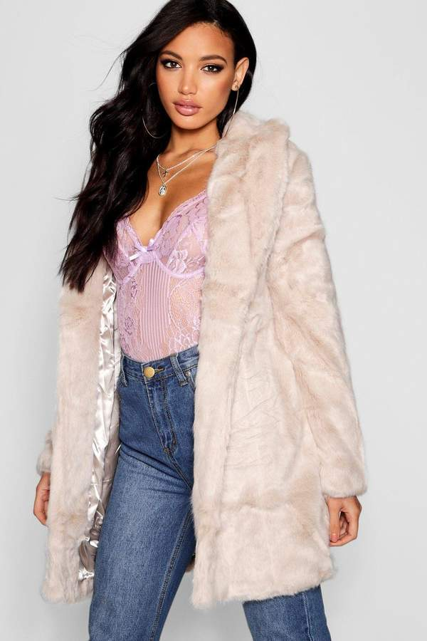 boohoo Boutique Rever Collar Faux Fur Coat
