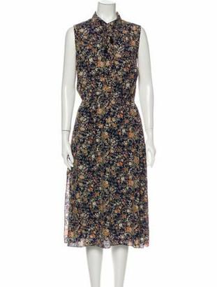 Adam Lippes Floral Print Midi Length Dress Blue