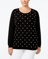 Charter Club Plus Size Pearl-Embellished Sweater, Only at Macy's