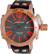 Adee Kaye Men's Mondo G2 53.24mm Black Calfskin Band Steel Case Quartz Dial Analog Watch ak7211-MRG