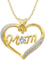 SPARKLE ALLURE Classic Treasures Lab-Created White Sapphire Two-Tone Mom Heart Pendant Necklace