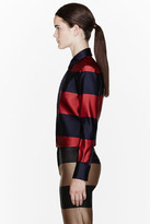Burberry REd & navy Double Silk Satin Striped Blouse