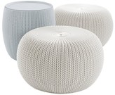 Keter Urban Cozy Knit Outdoor Poufs and Table Balcony 3pc Set