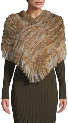 Jocelyn Knit Rabbit Fur Poncho