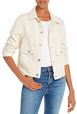 AG Jeans Workwear Cropped Corduroy Jacket in Ivory Dust