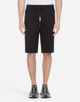 Dolce & Gabbana Cotton Bermuda Jogging Shorts With Embroidery