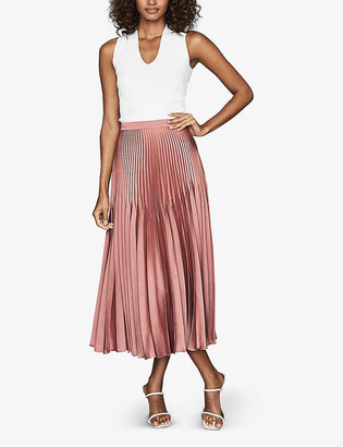 Reiss Dora pleated crepe midi skirt
