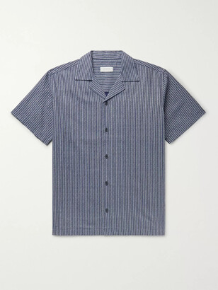 Saturdays NYC Canty Camp-Collar Indigo-Dyed Linen And Cotton-Blend Shirt