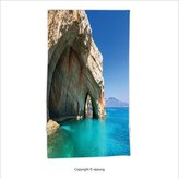 Vipsung Microfiber Ultra Soft Hand Towel-Beach Aqua Room Decorations Sea Cave On Zakynthos Island In Greece Vacation Relaxing Seascape Coast Picture Ivory Blue For Hotel Spa Beach Pool Bath