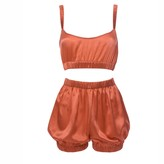 Roses Are Red Sundays Are For Ever Silk Sleepwear Set Coral
