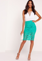 Missguided Lace Pencil Skirt Green