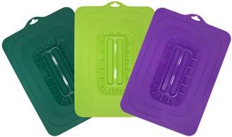 Elite Cuisine 3-Pc Colored Rectangular SiliconeSuction Lids