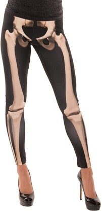 Faux Real Women's Halloween 3D Photo-Realistic Long Leggings Skeleton X-Large