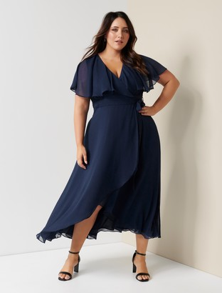 Forever New Bettina Curve Cape Maxi Dress - Navy - 16
