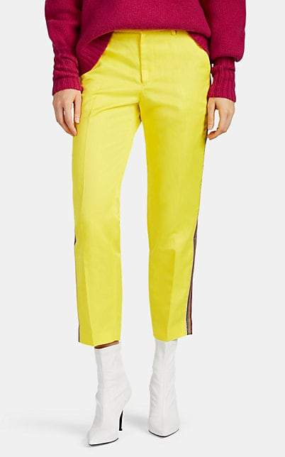 Pt01 Women's Tecla Metallic-Striped Washed Satin Track Pants - Yellow