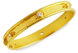 Elizabeth Locke Stone Hammered 19K Yellow Gold & Diamond Flat Thin Bangle