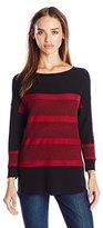 Leo & Nicole Women's Missy Stripe Pullover Sweater