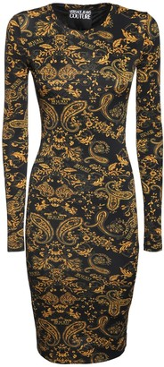 Versace Printed Stretch Jersey Midi Dress