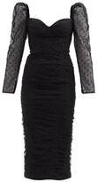 Thumbnail for your product : Self-Portrait Sweetheart Ruched Swiss-dot Tulle Midi Dress - Black