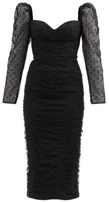 Self-Portrait Sweetheart Ruched Swiss-dot Tulle Midi Dress - Black