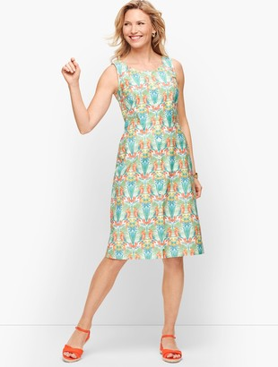 Talbots Tropical Print Shift Dress