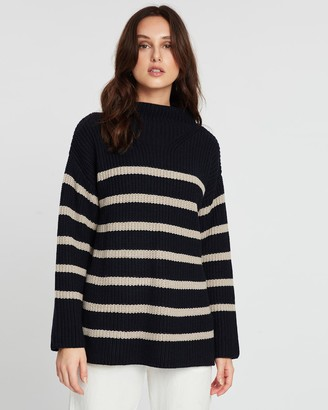 POL Clothing Cove Striped Turtleneck Knit