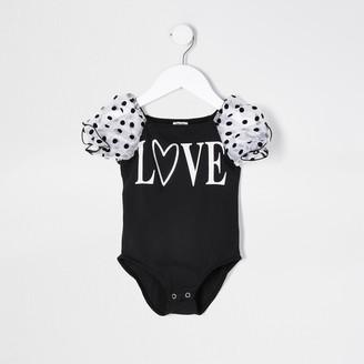 River Island Mini girls Black organza love print bodysuit