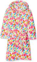 Playshoes Girl's Fleece Bathrobe Allover Flowers Dressing Gown