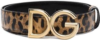 Dolce & Gabbana leopard print logo belt
