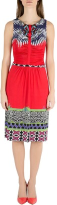 Etro Red Abstract Print Stretch Knit Ruched Front Sleeveless Midi Dress M