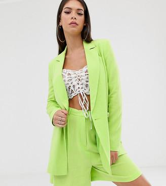 Asos Tall DESIGN Tall linen lime pop suit blazer-Green
