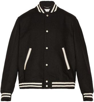 Saint Laurent Teddy College Varsity Jacket in Black   FWRD