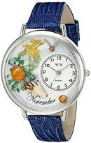 Whimsical Watches Unisex U0910011 Imitation Birthstone: November Royal Blue Leather Watch