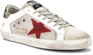 Golden Goose Superstar Sneaker in White & Silver Mesh & Red Star | FWRD