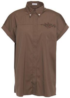 Brunello Cucinelli Embellished Cotton-blend Poplin Shirt