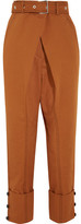 Proenza Schouler Belted Cotton-twill Pants - Brown