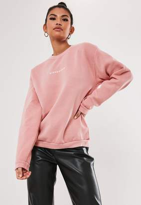 Missguided Coral Slogan Washed Sweatshirt
