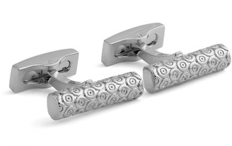 Hart Schaffner Marx Rhodium Plated Embossed Bar Cuff Links