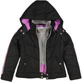 KC Collections Black Sweatshirt Hooded Puffer Jacket - Girls