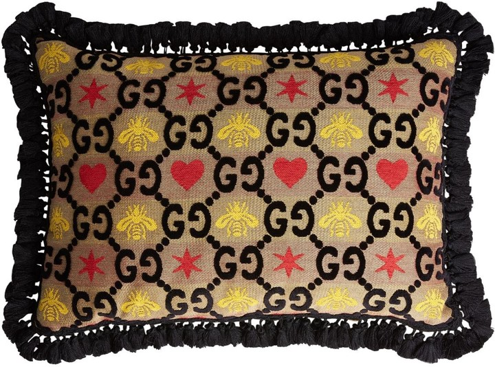 Gucci Gg Heart & Bee Jacquard Rectangle Pillow