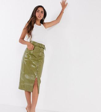 Fashion Union patent pu skirt with belt