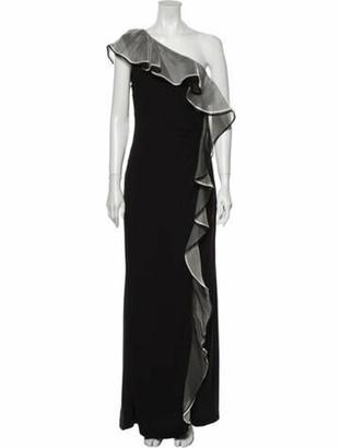 Valentino One-Shoulder Long Dress Black