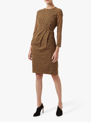 Hobbs Trina Silk Blend Dress, Chocolate/Multi