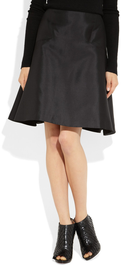 Prabal Gurung Flared silk-blend satin-twill skirt