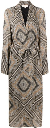 MICHAEL Michael Kors Paisley-Print Belted Coat