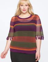 ELOQUII Stripe Pointelle Sweater with Tassels