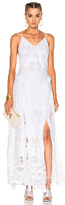 Jonathan Simkhai Crochet Embroidered Deep V Maxi Gown in White.